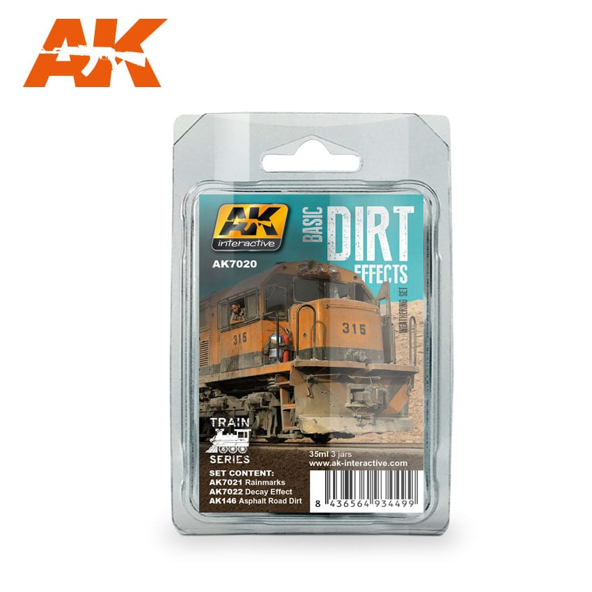 AK Interactive Basic Dirt Effects Weathering Set Train Series