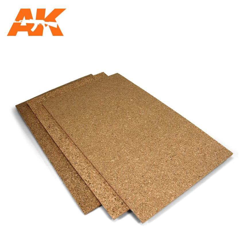 AK Interactive Corck Sheets - Fine Grained - 200 X 300 X 1-2-3mm (3 Sheets)