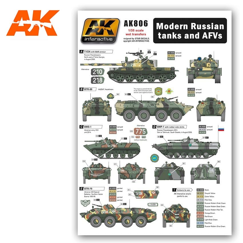 AK Interactive 1/35 Modern Russian Tanks and AFVs decals