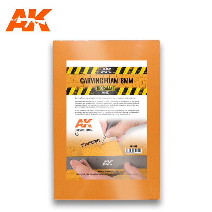 AK Interactive Carving Foam 8 mm A5 Size (228 X 152 mm)