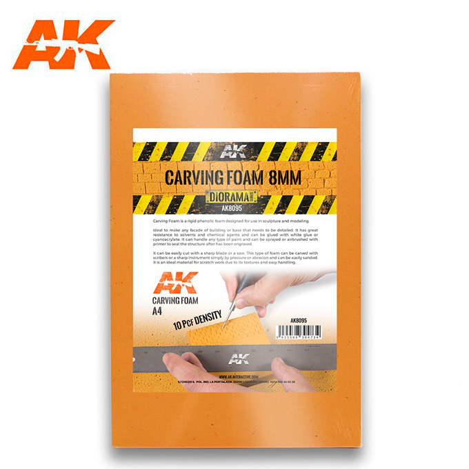 AK Interactive Carving Foam 8mm A4 Size (305 X 228 mm)