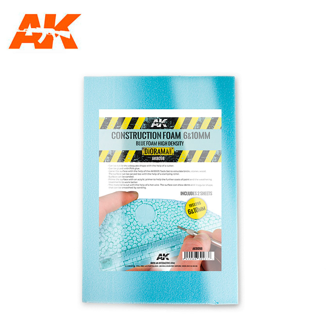 AK Interactive Construction Foam 6 & 10mm - Blue Foam includes 2 sheets