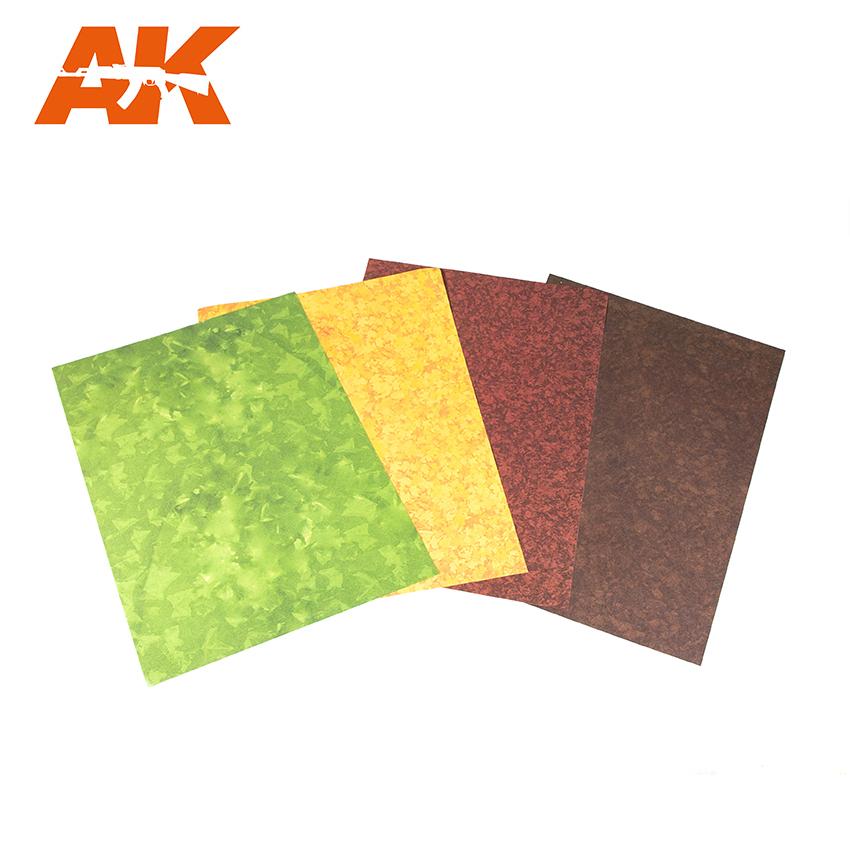 AK Interactive Leaves Punching Sheet Set (4 pcs, A4 size)