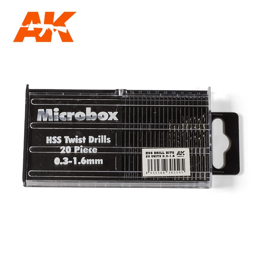 AK Interactive Microbox HSS Drill Bits 20 units 0.3-1.6mm