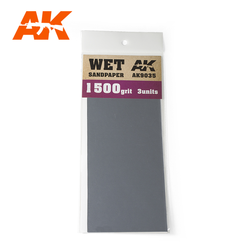 AK Interactive Wet Sandpaper 1500 Grit. 3 units