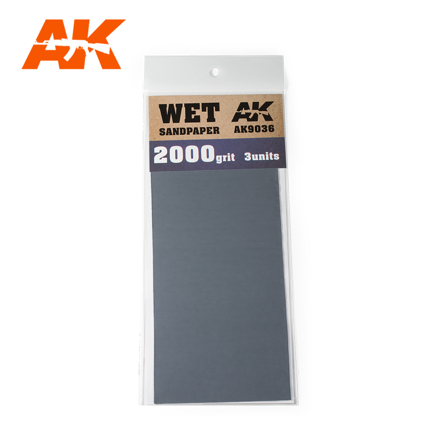AK Interactive Wet Sandpaper 2000 Grit. 3 units