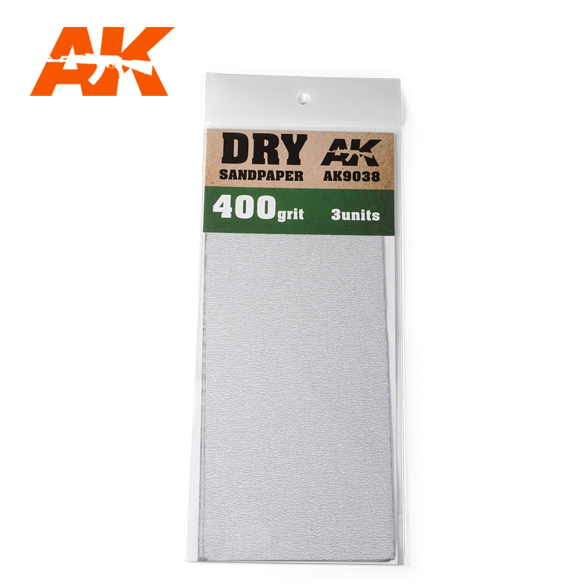 AK Interactive Dry Sandpaper 400 Grit. 3 units
