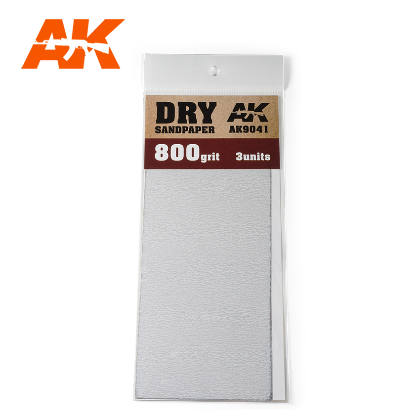 AK Interactive Dry Sandpaper 800 Grit. 3 units