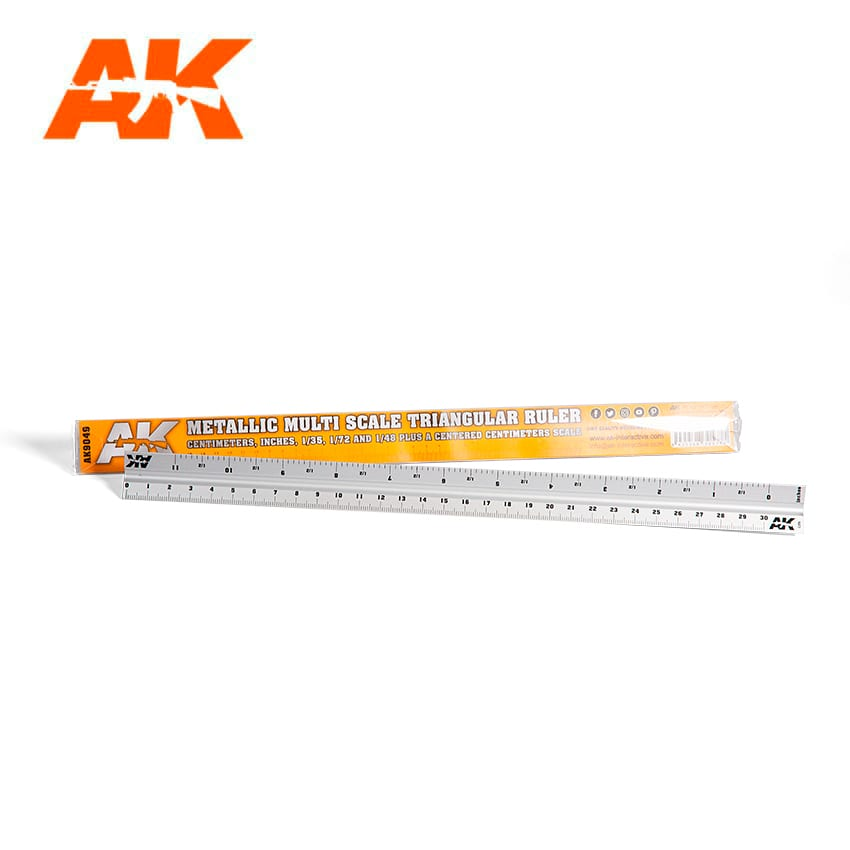 AK Interactive Metallic Multi-Scale Triangular Ruler