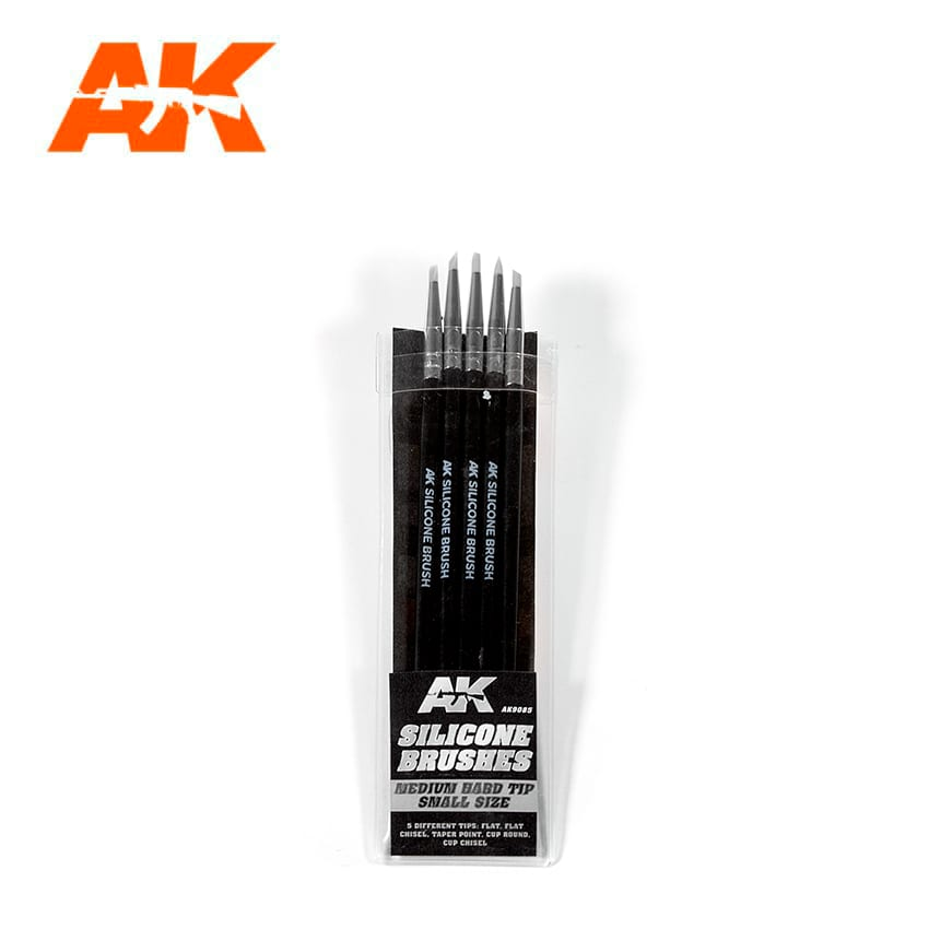 AK Interactive Silicone Brushes Medium Hard Tip, Small - 5Pk