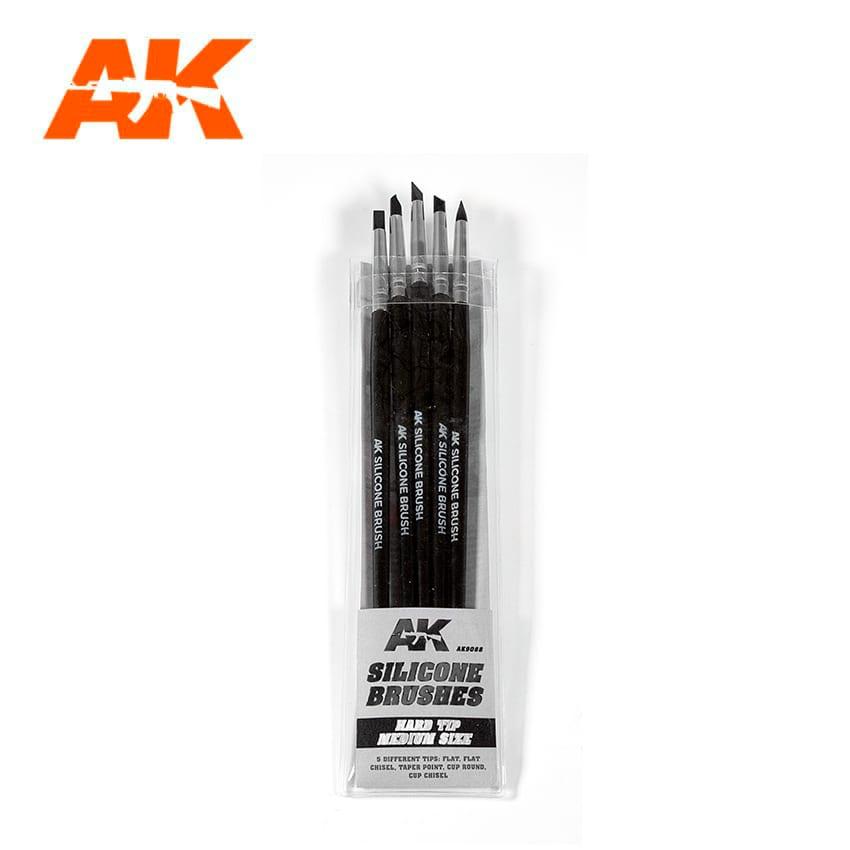 AK Interactive Silicone Brushes Hard Tip, Medium - 5Pk