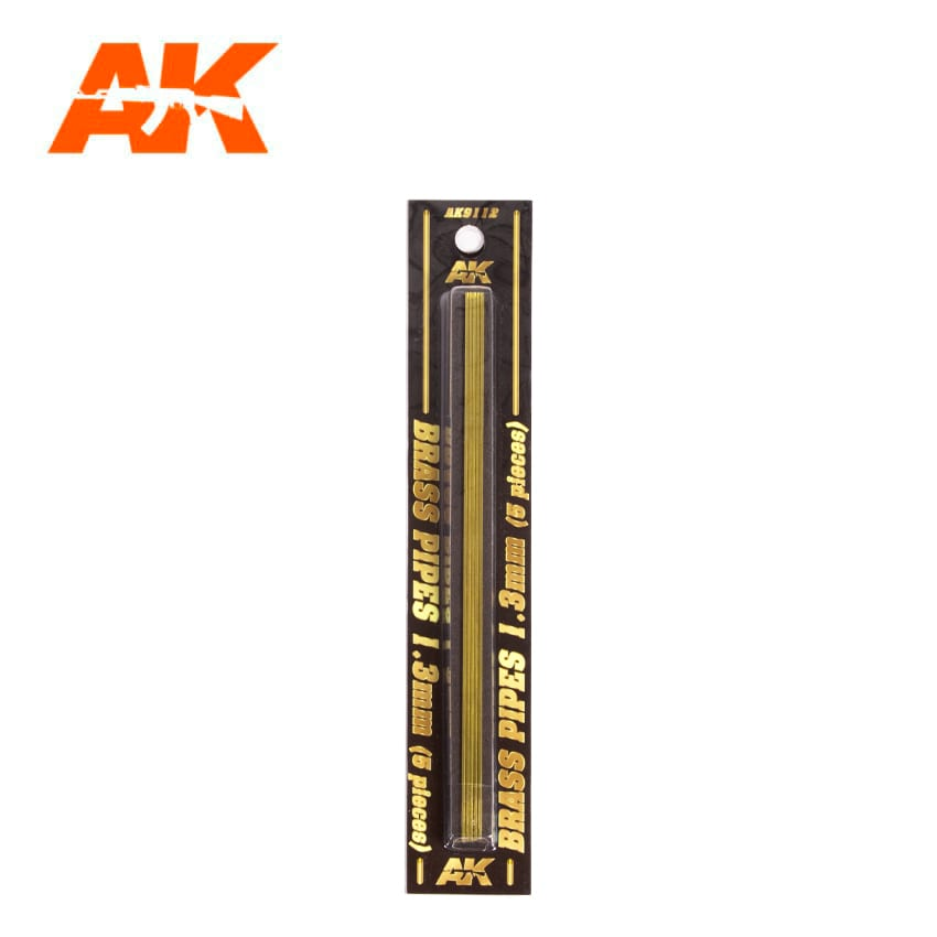 AK Interactive BRASS PIPES 1.3mm, 5 units