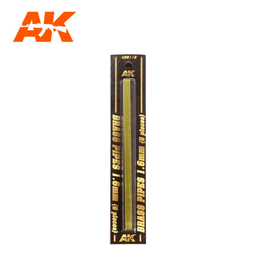 AK Interactive BRASS PIPES 1.6mm, 5 units