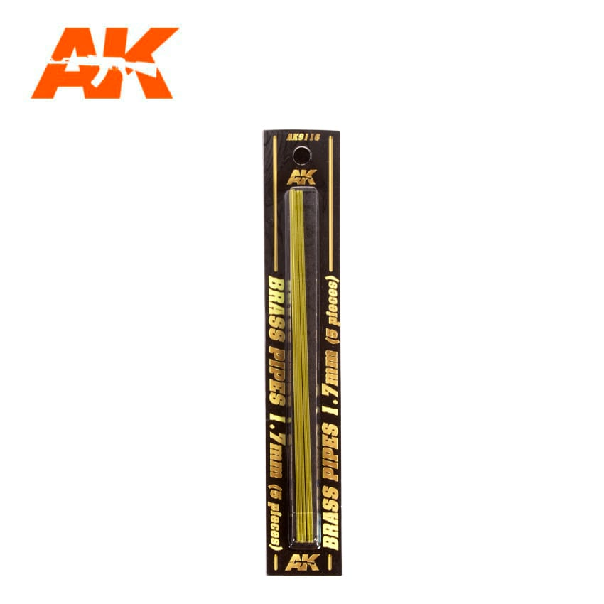 AK Interactive BRASS PIPES 1.7mm, 5 units