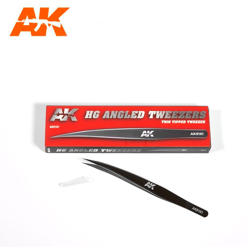 AK Interactive HG Angled Tweezers 01 Thin-Tipped