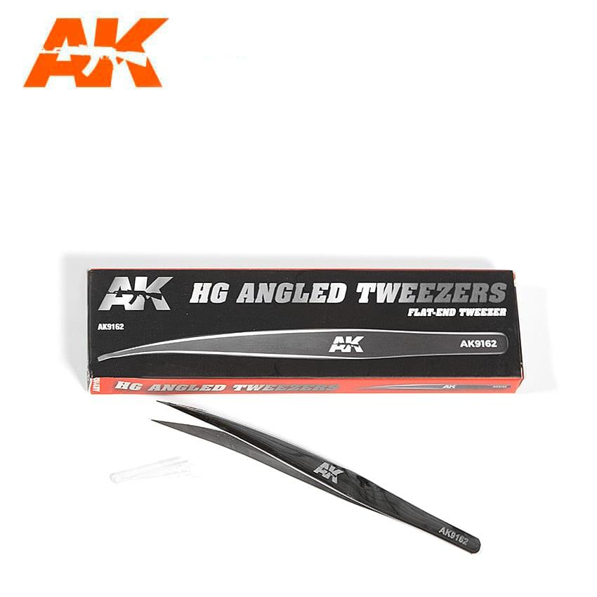 AK Interactive HG Angled Tweezers 02 Flat-End