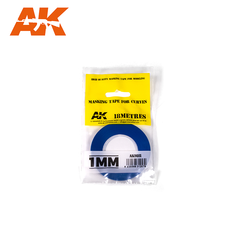 AK Interactive Blue Masking Tape for Curves - 1mm