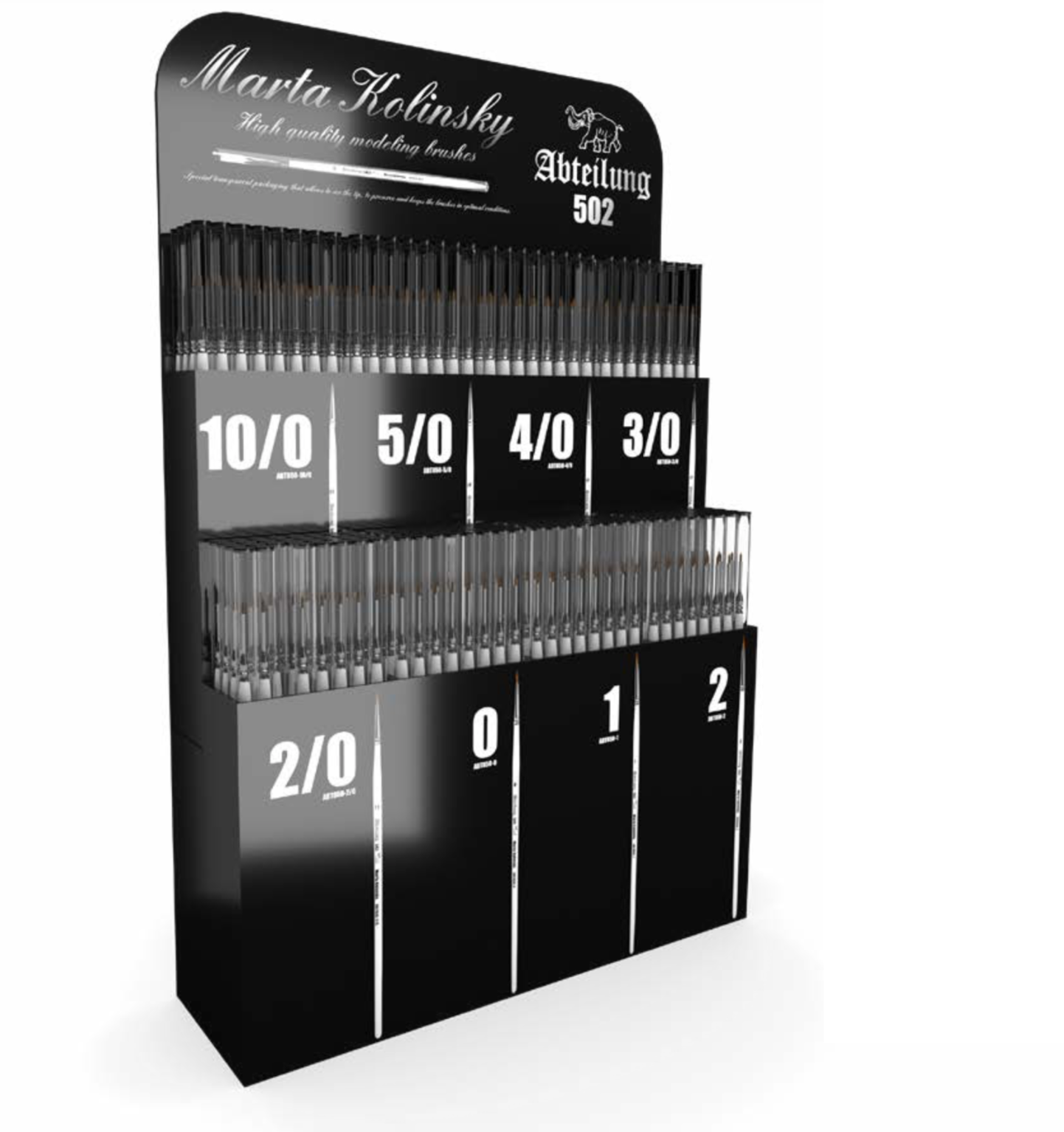 Abteilung502 Kolinsky Brushes Display: 160 Brushes (All 8 Refs X 20 Units) Display Rack