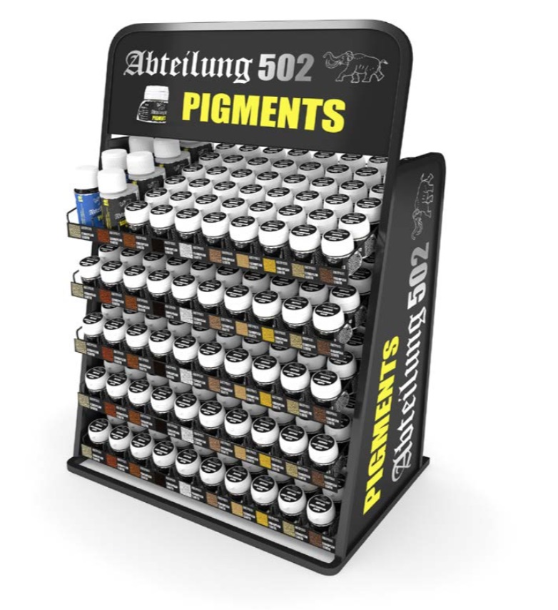 Abteilung502 Pigments Display (48 colors x 6 units + 2 auxiliary products x 4 units) FREE DISPLAY RACK
