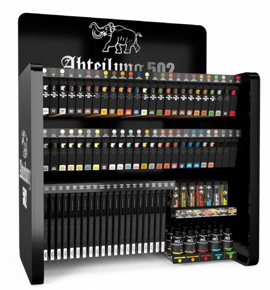 Abteilung502 Oil Paint Special Display  (50 colors x 6 ud/color + 7 sets x 2 ud/set + 20 brushes x 6 ud/brush + 5 aux. products x 5 ud/aux.prod.) Display Rack