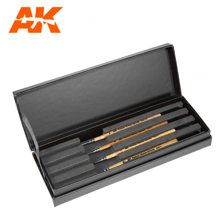 AK Interactive Siberian Kolinsky Brushes Deluxe Case