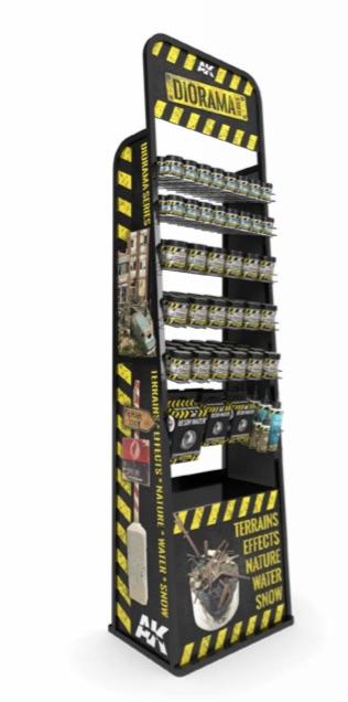 AK Interactive Dioramas Full Display Set: 250ml (18 Textures x 4 Uds) + 100ml (16 Textures x 5 Uds) + Puddles-60ml x 7 Uds + Still Water 250ml x 5 + Resin Water (375ml x 3 + 180ml x 3) + Resin Ice (180ml x 3)