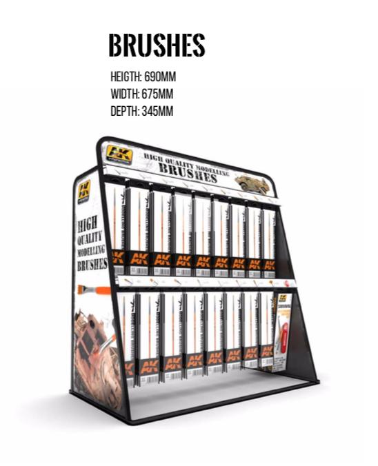 AK Interactive Brush Rack: 204 Brushes (Al 17 refs. x 12 units) + 4 x Survival Weathering Brushes Set