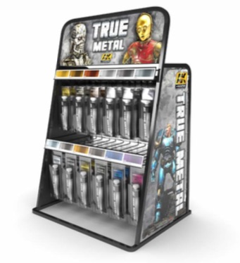 AK Interactive True Metal Display Rack (12 True Metal Colours x 4 tubes)