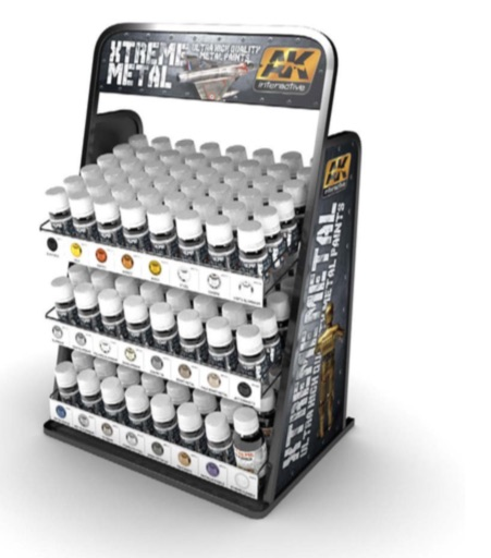 AK Interactive Xtreme Metal Display Rack (23 Xtreme x 3 jars + 2 Xtreme cleaner = 71 units)
