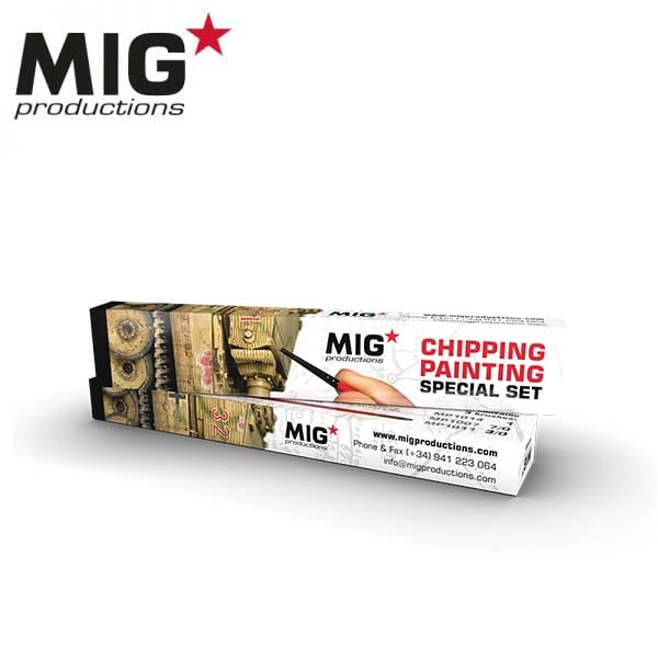 MIG Chipping Painting Special Set (brushes MP1007, MP1011 and MP1014)