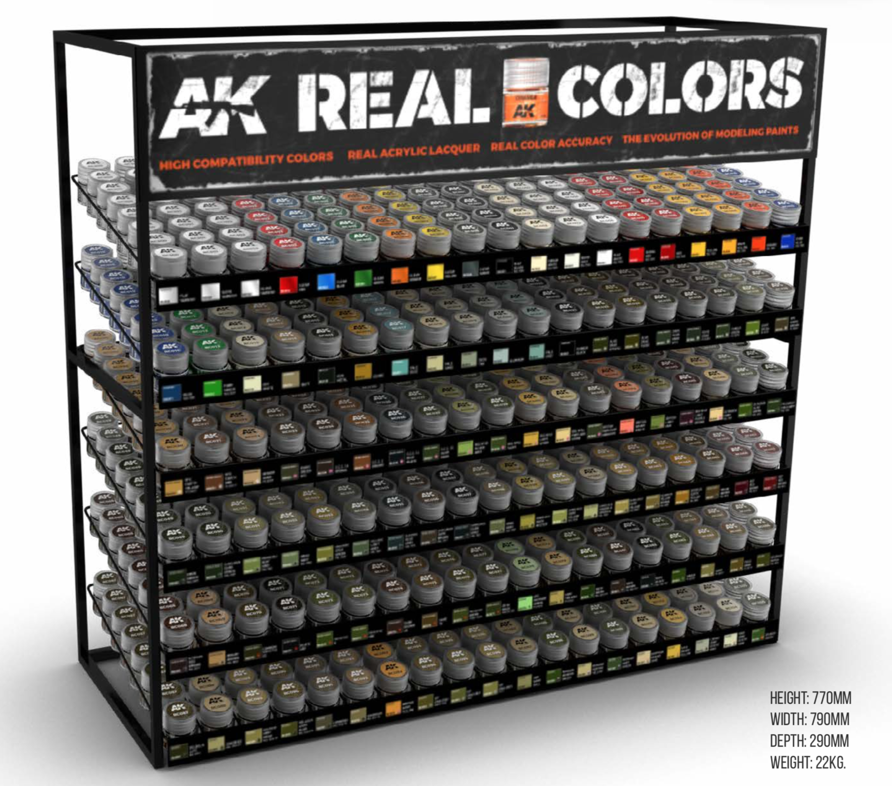 AK Interactive Real Colors AFV & Standard Display Rack (114 Colors x 8 units )