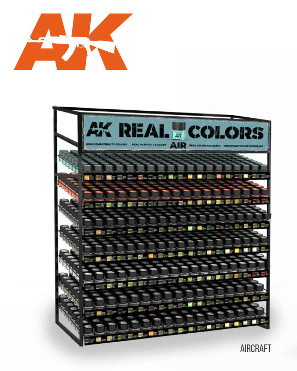 AK Interactive Real Colors Aircraft Paints Display Rack (133 Colors x 3 units)