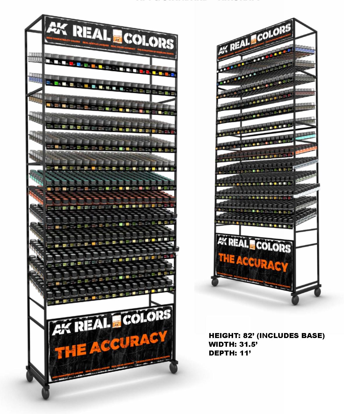 AK Interactive Real Colors Half Rack (AFV colors + AIR colors) (247 Colors x 4 units)