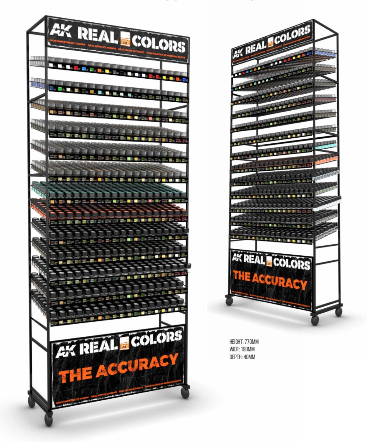 AK Interactive Real Colors Full Rack (AFV colors + AIR colors)  (247 Colors x 3 units)