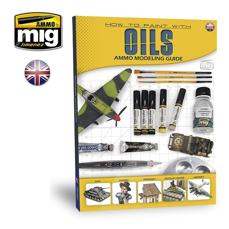 Ammo Mig How Paint with Oils - Ammo Modelling Guide (English)
