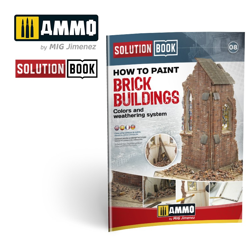 Ammo Mig How to Paint Brick Buildings, Colors & Weathering System - Solution Book (Multilingual)
