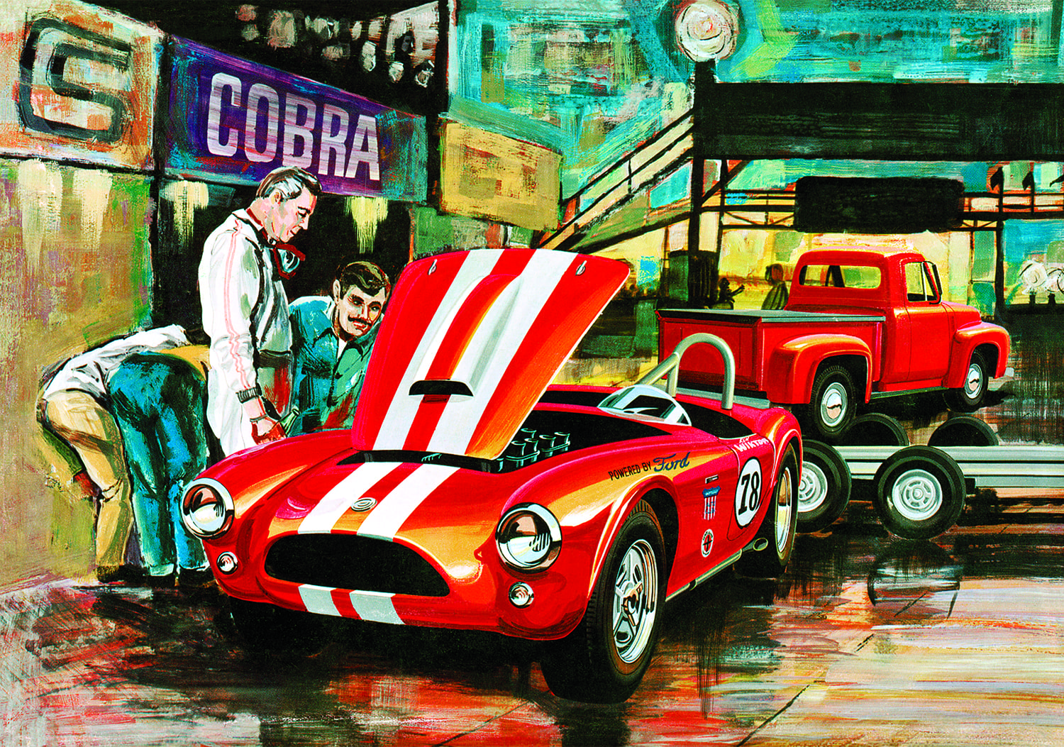 AMT Cobra Racing Team Shelby Cobra and 1953 Ford Pickup & Trailer