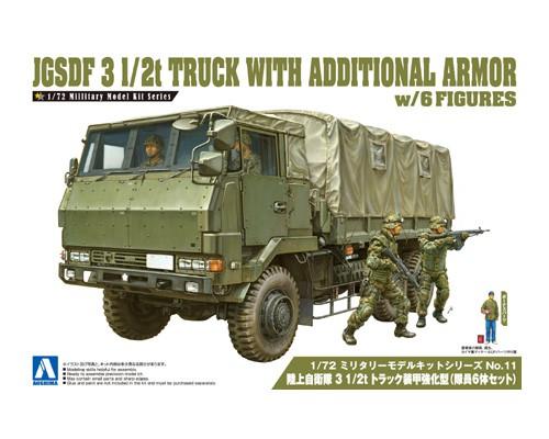Aoshima 1/72 JGSDF 3 1/2T Truck With Additional Armor (W/4 Figures)