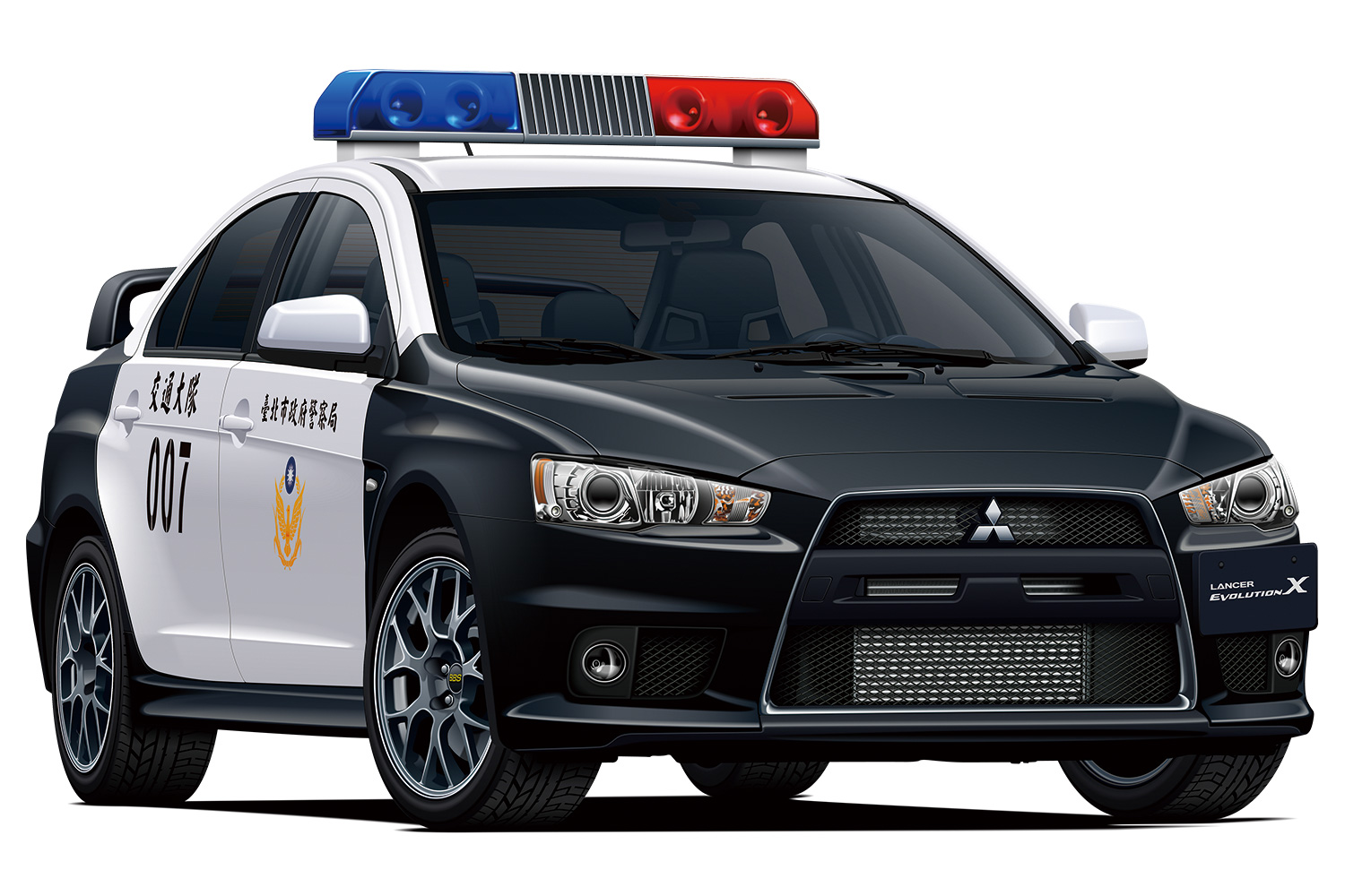 Aoshima 1/24 Mitsubishi CZ4A Lancer Evolution X Patrolcar '07 Taipei City Police Department
