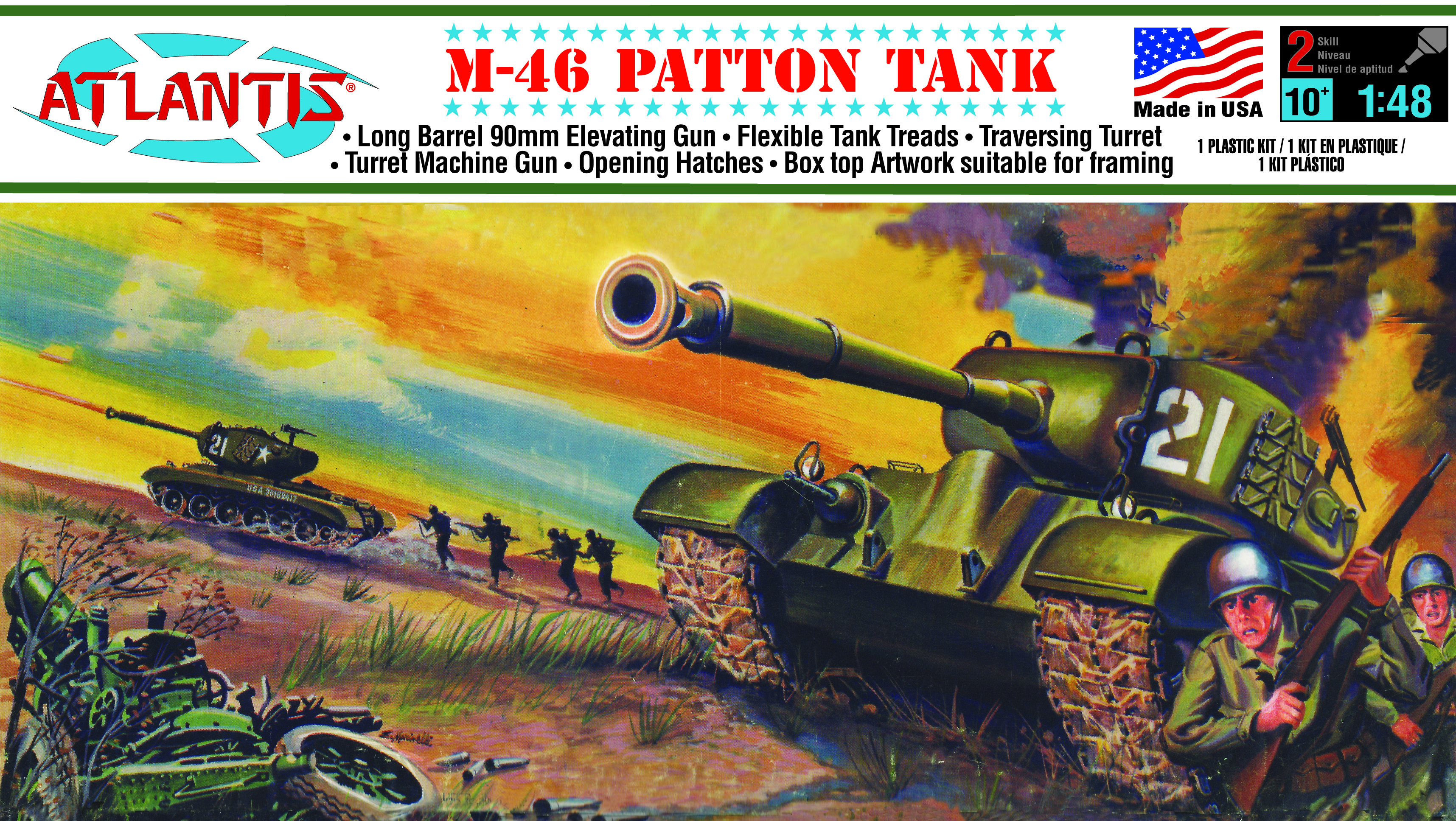 Atlantis 1/48 M-46 Patton Tank w/ Figures & Decals