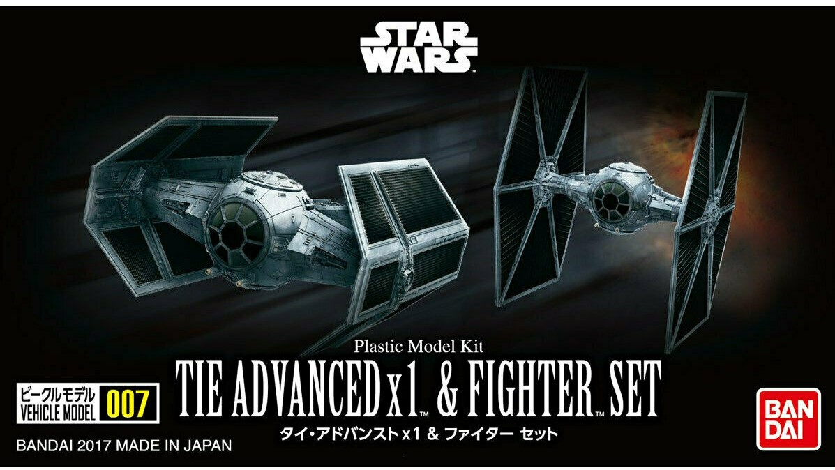 Bandai Star Wars Vehicle Model #007 Tie Advanced x1 and Fighter Set