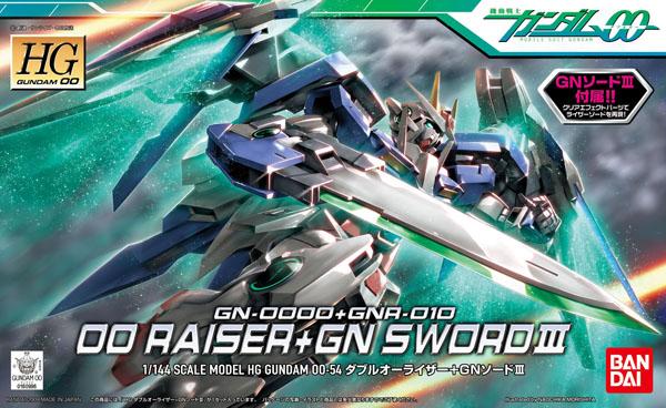 "Bandai HG 00 #54 1/144 GN-0000+GNR-010 00 Raiser + GN Sword lll ""Gundam 00"""