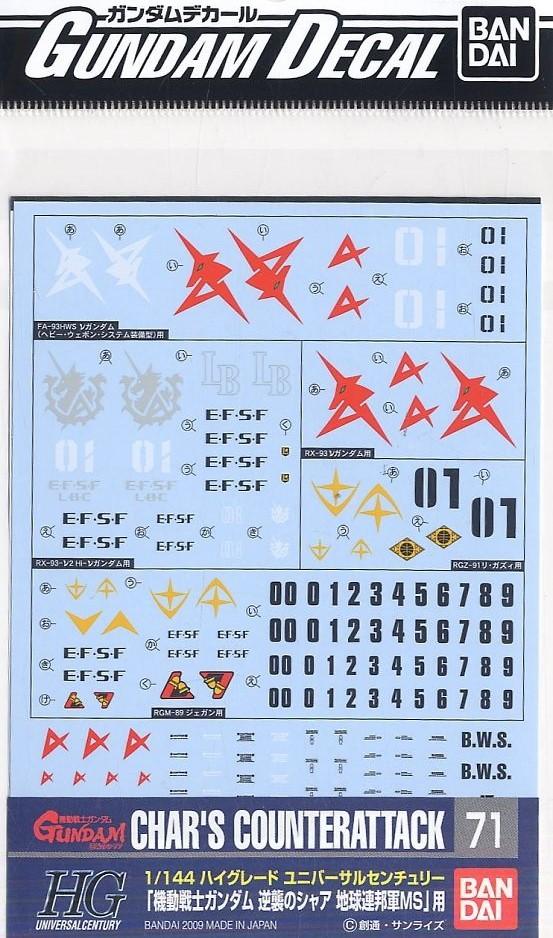 Bandai Spirits Gundam Decal GD71 1/144 Char's Counterattack Earth Federation Ver.