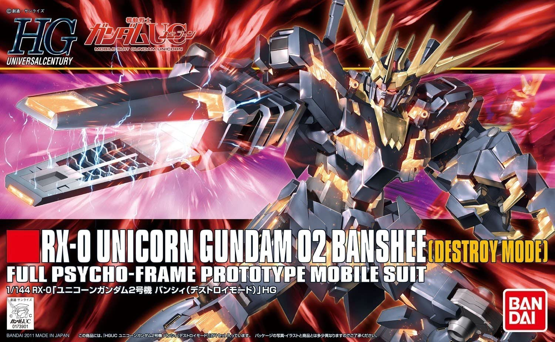 "Bandai #134 Unicorn Gundam 02 Banshee (Destroy Mode) ""Gundam UC"", Bandai HGUC 1/144"