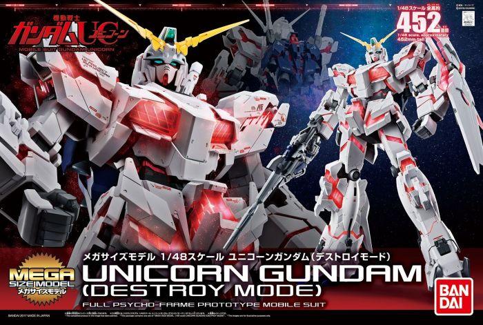"""Bandai Unicorn Gundam (Destroy Mode) """"Gundam UC"""", Bandai Mega Size 1/48"""