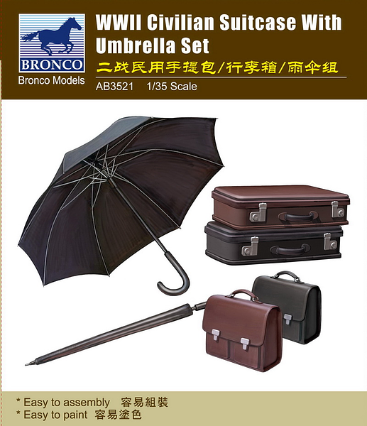 Bronco Models 1/35 WWII Civilian Suitcase with Umbrella Set