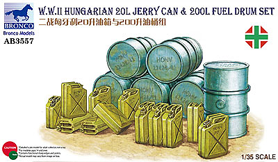 Bronco Models 1/35WWII Hungarian 20L Jerry Can & 200L Fuel Drum Set