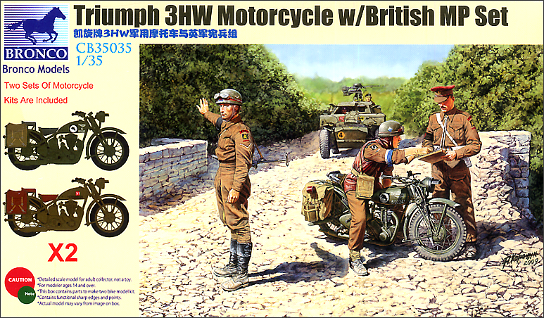Bronco Models 1/35 Triumph 3HW Motorcycle w/ British MP Set