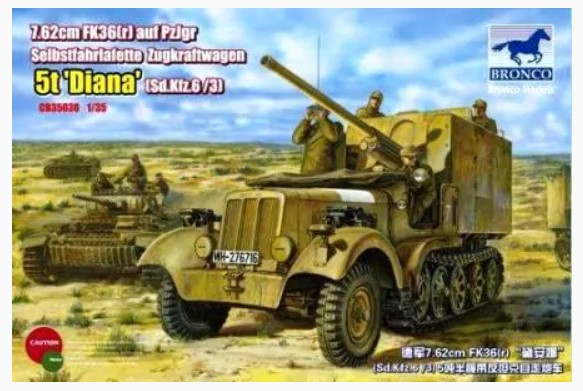 Bronco Models 1/35 Sd.Kfz. 6/3(5t) Diana German Army Military Vehicle Kit