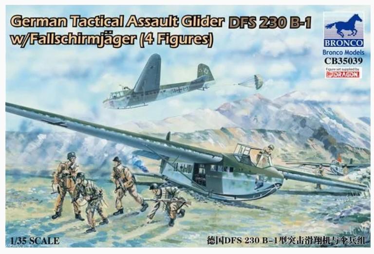 Bronco Models 1/35 German Tactical Assault Glider DFS 230 B-1 w/ Fallschirmjager (4 Figures)